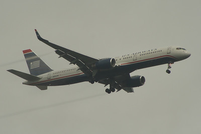 N942UW A US Airways Boeing 757-2B7 on approach to Glasgow Airport