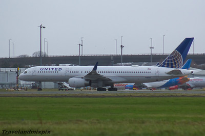 N34131 United Airlines Boeing 757-224 Glasgow Airport 23/01/2016 On lay over at Glasgow Airport. It was due to fly on a regular service to New York that morning but the flight was cancelled due to heavy snow in New York and North Eastern United States