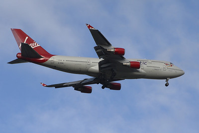 G-VGAL Boeing 747-443 of Virgin Atlantic on approach to Glasgow Airport