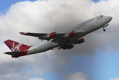 G-VGAL Boeing 747-443 of Virgin Atlantic departing Glasgow Airport