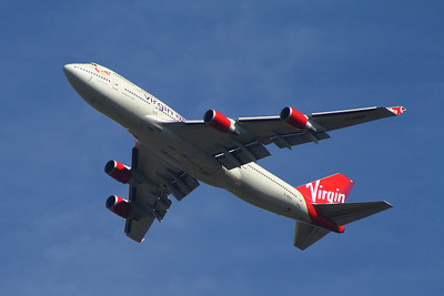 G-VROY Boeing 747-443 of Virgin Atlantic departing Glasgow Airport
