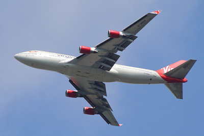 G-VROS A Virgin Atlantic Airways Boeing 747-443 after take off from Glasgow Airport