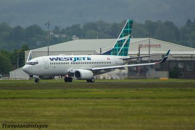 C-GQWJ WestJet Airlines Boeing 737-7CT Glasgow Airport 13/06/2015 WestJet Tartan livery