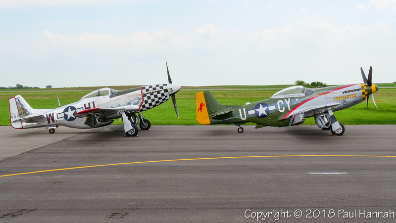 """Fagen Fighters 1944 NAA P-51D """"Twilight Tear"""" (SN 44-63864)  N251L & CAF 1944 NAA P-51D Mustang """"Gunfighter""""  (SN 44-73264) N5428V"""