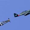 "North American P51 Mustang ""Dakota Kid"" in pursuit of a WWII ME262 German Jet."