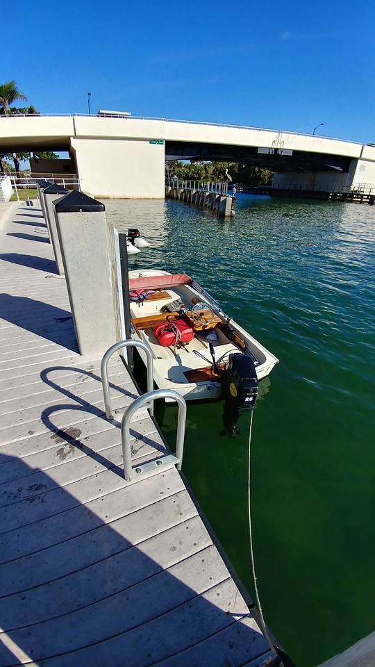 Tim Bartel's dinghy used to get out to his boat, which is anchored in Lake Boca Raton