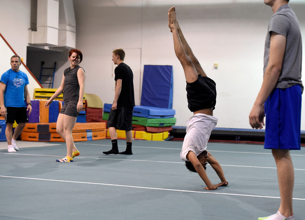 . Adit Jatkar, at center, works out at an Airborne Gymnastics workout class on Thursday at Airborne Gymnastics in Longmont. For more photos of the class go to www.dailycamera.com Jeremy Papasso/ Staff Photographer/ March 23, 2017