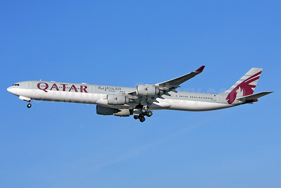 Qatar Airways Airbus A340-642 A7-AGA (msn 740) LHR (Keith Burton). Image: 902354.