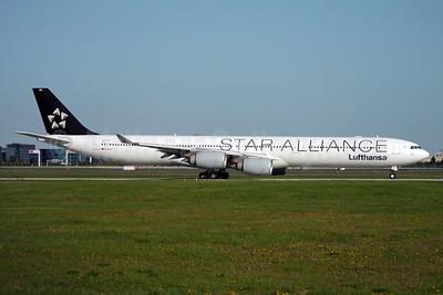 Lufthansa Airbus A340-642 D-AIHC (msn 523) (Star Alliance) YYZ (TMK Photography). Image: 930901.
