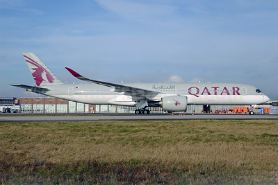 Qatar Airways' first A350 at its first destination, Frankfurt