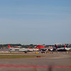 All the red tails at Minneapolis - St. Paul International Airport.