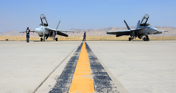 """VFA-106 """"The Gladiators"""" two F/A-18F's on the ramp at Grand Junction.  That's """"Neon"""" and """"Rooney"""" in the plane on our left going through the Pre-flight Checks."""