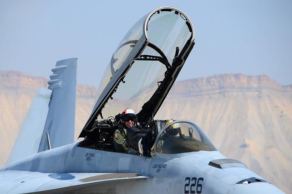 """LT Chris """"Grippy"""" Snyder and LT Daniel """"Trig"""" Osbourn, of VFA-106's Demo Team, manned up in the F/A-18F at Grand Junction."""