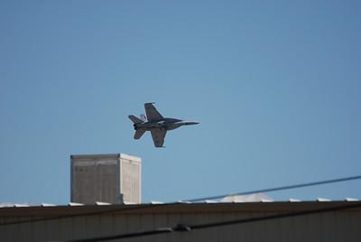 F/A-18F from VFA-122 screams past the hangars at NAS Fallon