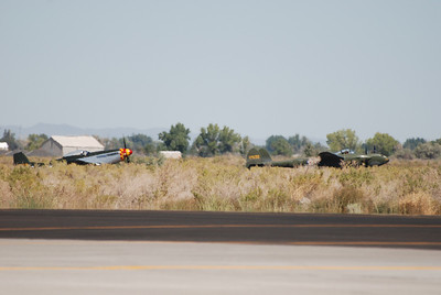 """P-51 and P-38 at the """"hold short'"""