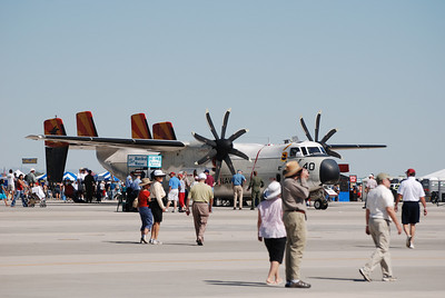 """The aging C-2A Greyhound with the new engines, complete with """"Palm Frawn Spinners"""""""
