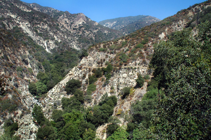 Following the trail that leads down into the canyon. This photo shows how steep and rugged the mountains are in this area.