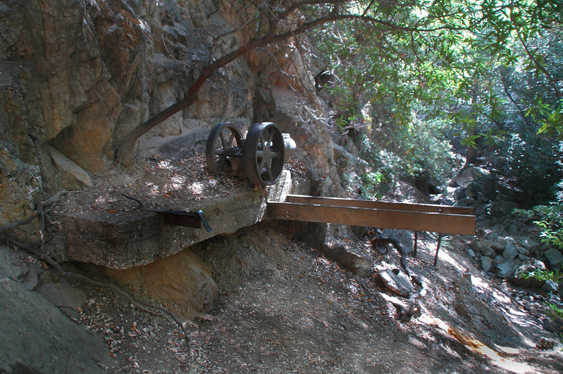 Water pump outside the Dawn Mine. This mine was started in 1895 and was worked on and off till the early 1950s. Like most mines in the San Gabriels, it produced more sweat than gold.