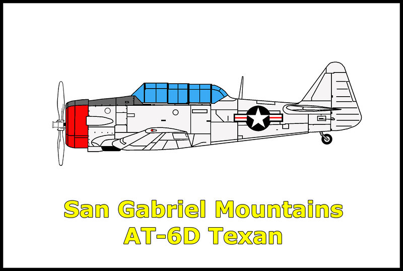 On 7/2/47, a North American AT-6D with the US Army Air Force Reserve while on a flight from Long Beach Army airfield crashed in the San Gabriel Mountains, north of Pasadena, California. The accident started a 90 acre forest fire which prevented the rescue party from reaching the crash site until fire crews were able to get the flames under control. The accident occurred in bad weather killing the pilot 1st Lieutenant Edward F. Bickford of Altadena, CA.