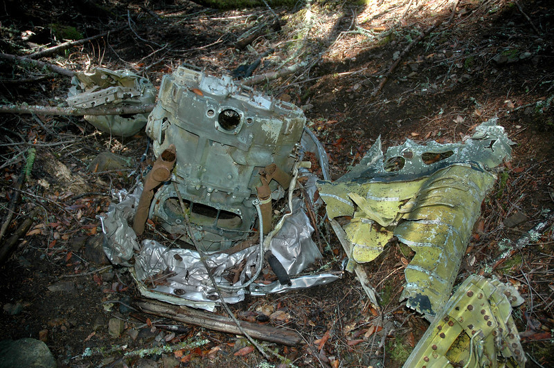 The rear section from the engine in the stream bed. It has part of the engine mount and cowling still attached to it.