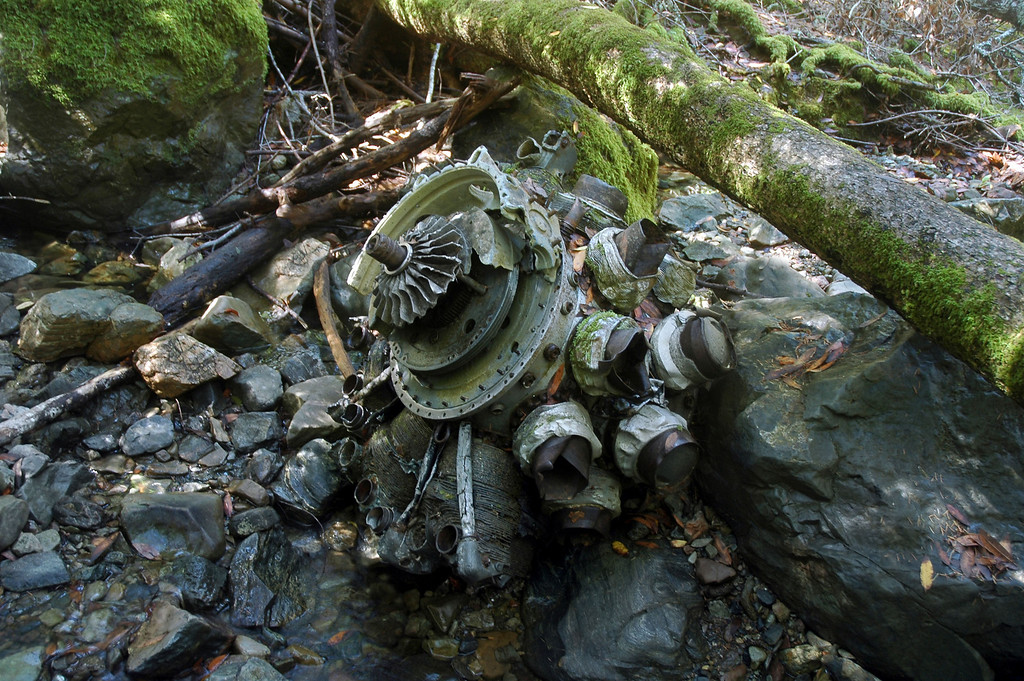 The first wreckage we came upon was a Pratt & Whitney R-2800-8W Double Wasp engine in a stream bed from the F4U-1D.
