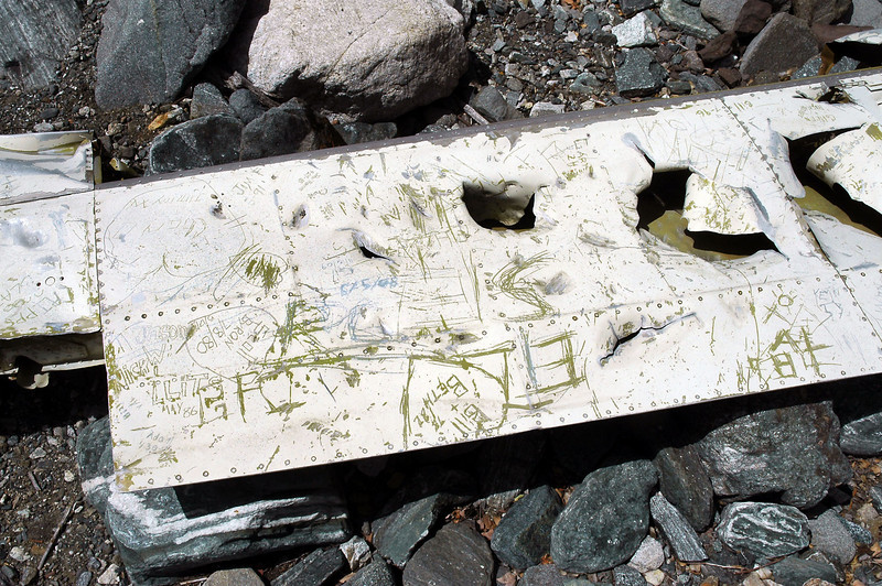 Most of the upper wing surface was covered with graffiti from past visitors.