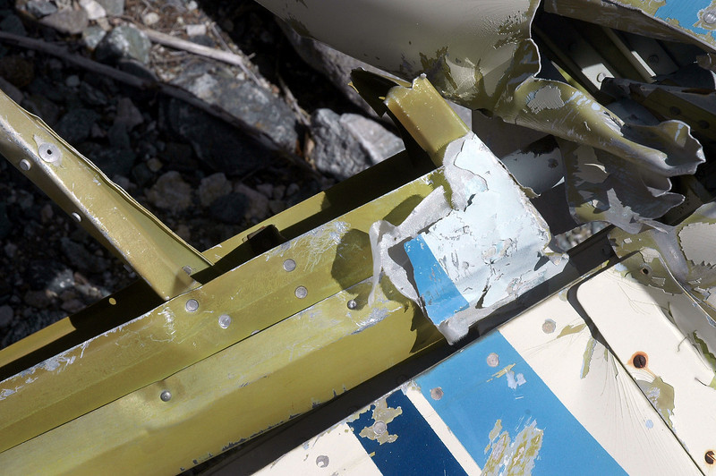 The rudder had a small piece of fabric remaining.