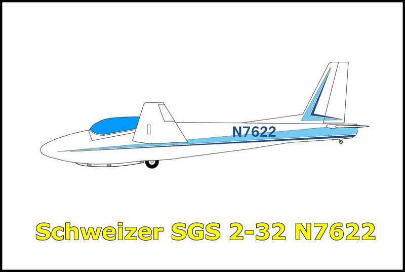 On 2/6/74 the pilot James Webb and his passenger Harry Diltiz were on a flight out of Llano, California, in the Schweizer SGS 2-32 N7622. While soaring in high winds near Mount Baden-Powell in the San Gabriel Mountains, they flew into a violent downdraft. It appears that the sailplane was trapped in the canyon and the pilot was attempting a landing in the wash at the bottom when it hit trees on final approach. Both the pilot and his passenger survived with only minor injuries, the sailplane was destroyed in the accident.