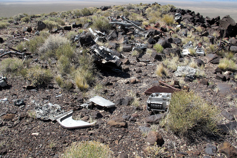 The first group of wreckage I came upon. The bomber struck a ridge scattering wreckage on both sides.
