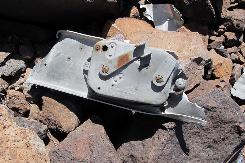 One of the bomb release mechanisms. The lever on the left is marked ARM and the other RELEASE. There would one of these for each bomb on the rack.