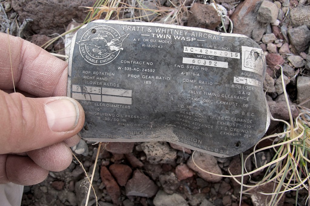 This tag from one of the Pratt & Whitney engines was laying in the bottom of the canyon by itself. It has some interesting information on it, including the blower and propeller ratios.