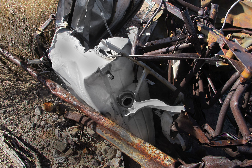 Another view of the fuel tank. Half of it was melted away from the post crash fire.