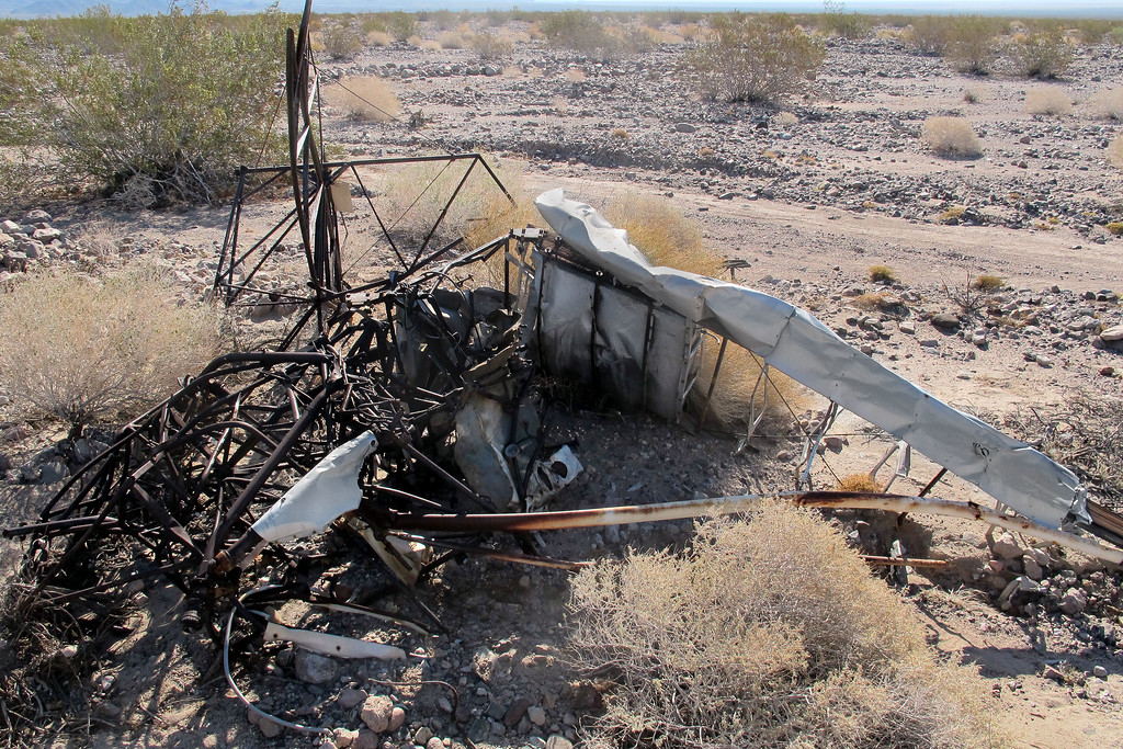This view of the wreckage shows the smashed remains of the fuselage. Only the steel tubing remains, no sign of the wooden formers and stringers.