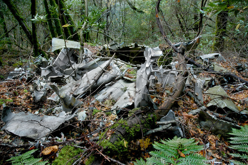 Looking down on the same pile of wreckage. There was a lot here, but I couldn't figure out what I was looking at. I wanted to get in there  and look around, but it was just to steep and with all the rain last night it was really slippery. To much sharp aluminum to risk falling on it.