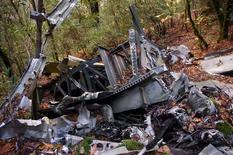 Another view of the same piece of wing. The remains of one of the engines is in the lower right.