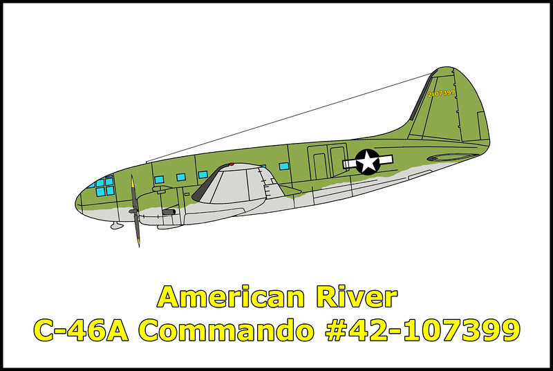On June 22, 1945 the Curtiss C-46A Commando #42-107399 with the 565th AAFB Unit took off at 9:47pm on a high altitude night training flight from Reno Army Air Base, Nevada to Long Beach, California. Because of the weather conditions in the vicinity of Reno and the possibility that a large number of aircraft dispatched from this base would have to return on instrument flight plans, the Control Officer told Sacramento Radio to have Army 42-107399 return to Reno Army Base upon reporting over Sacramento. The crew reported over Sacramento at 11:13pm at 18,000 feet, received and acknowledged the order to return to Reno. No further word was heard from the flight and it failed to return to base. Several witnesses on the ground heard the aircraft's engines go from the sound of a plane in cruse, to sounding as if it was in a steep dive. The sound caused them to look up to see a flash in the sky that night from what was believed to be the exploding fuel tanks. The C-46A was found the next day approximately 35 miles west of Lake Tahoe. It had crashed into the heavily wooded canyon near the American River. The wreckage was contained in a fairly small area scattered down a steep slope only about a hundred and fifty feet from the point where it first struck the ground. Neither of the wings, outboard from approximately the center of the fuel tanks were found at the crash site. The right wing was found almost a mile south of the wreckage. Two of the wing fuel tanks, presumably from the right wing were found one quarter mile to the southeast of the right wing. The ends of the tanks were blown out and the skin and leading edge from the right wing was bowed out, indicating an explosion within that wing. Examination of the wreckage disclosed there had been very little fire after the crash. The left nacelle, landing gear and tire were badly burned, although surrounding parts of the wreckage on the ground showed little or no effects of fire. The conclusion was that there was a fire in the left nacelle prior to the accident. The crew of three were found in the main body of the wreckage, seeming to indicate that no effort was made to bail out. This could have been due to the lack of time between the discovery of the fire and the resulting explosion. <br /> <br /> Killed in the accident were, pilot/flight instructor; 1st Lt. James B. Solomon and student pilots; F/O Robert A. Brown and F/O Hubert W. Anderson.