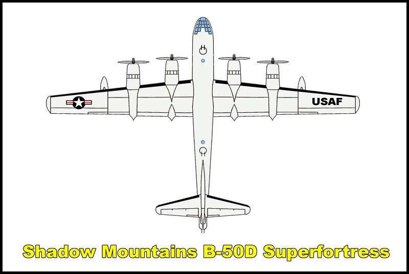 On 1/10/51, the Boeing B-50D Superfortress #48-070, was flying out of Edwards Air Force Base on a four and a half hour equipment test mission. Flying at a low altitude in poor visibility due to bad weather conditions, it crashed into a peak in the Shadow Mountains killing the six Air Force crew members and two civilians onboard. If they were flying fifty feet higher or one hundred feet to the left or right, they would have missed the mountain peak that tragically ended the flight.