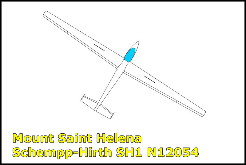On 10/4/75, the  Schempp-Hirth SH1 N12054 crashed near Mount Saint Helena when the pilot failed to maintain flying speed while ridge soaring ending in a stall spin killing the 25 year old pilot. Lack of familiarity with the aircraft was also cited as a probable cause as the pilot had only one hour flight time in this type of sailplane in the past ninety days.<br /> <br /> After we hiked down to the engine of one of the AD-6 Skyraiders, Craig lead us to the crash site of this sailplane which was less than a hundred yards from the engine.