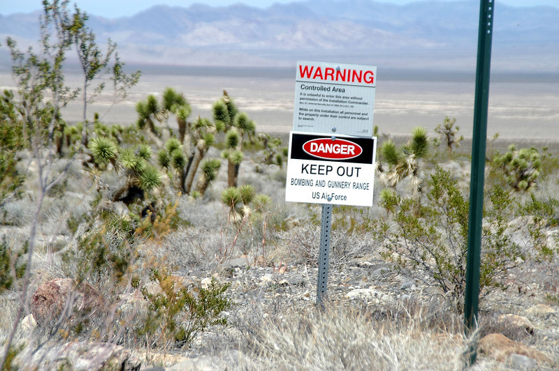 The area I'll be hiking in is bordered by the Nellis Air Force Base bombing and gunnery range.