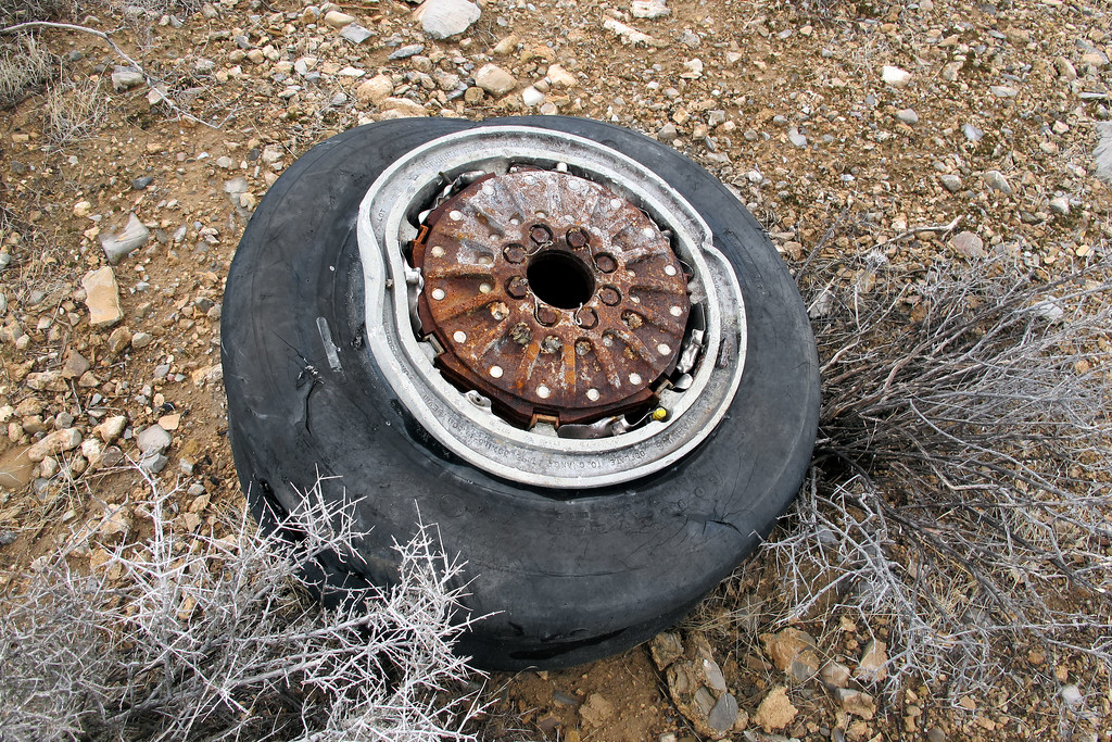 Tire and wheel from one of the main landing gears.