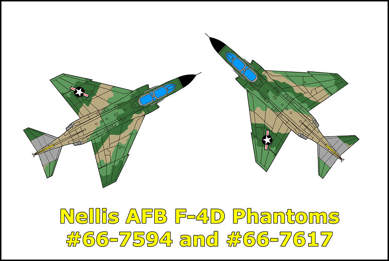 On 8/28/79, two F-4Ds #66-7594 and #66-7617 collided about fifty miles north of Las Vegas scattering wreckage over a large area. They were part of a flight of three F-4Ds with the 474th Tactical Fighter Wing out of Nellis Air Force Base, Nevada participating in an Air Combat Maneuvers (ACM) flight. The flight proceeded to Elgin ATCAA and set up for a tactical intercept. The first intercept and ACM engagement were completed without incident. During the second engagement, 66-7594 and 66-7617 were maneuvering to attack the third F-4D when they collided. The crew of one of the F-4Ds, pilot Capt. Robert W. Newman and WSO Capt. Patrick Y. Nakagawa were able to eject safely, but the crew of the second F-4D, pilot Capt. Ronald L. Diehl and WSO Capt. Ray H. Littge ejected but were fatally injured upon ground impact.