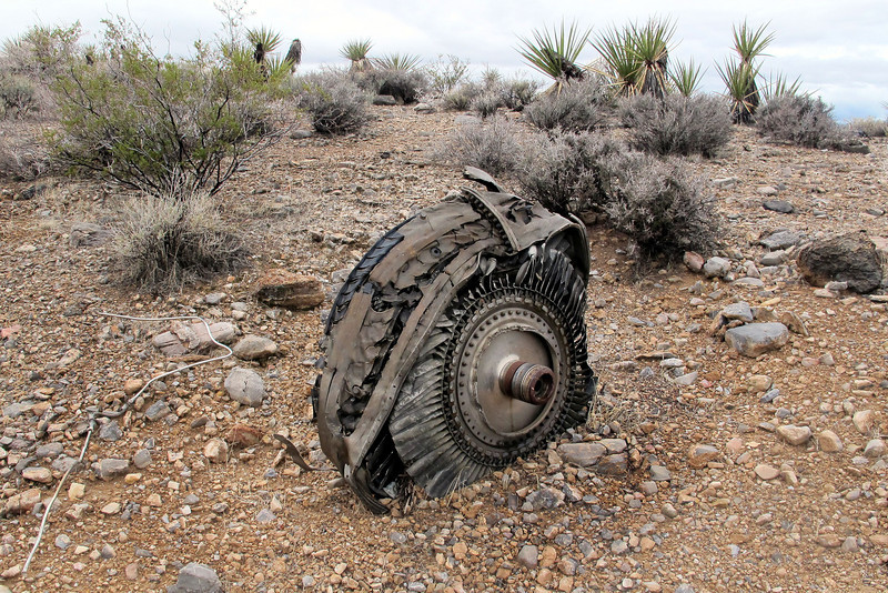 Continuing the search, I came upon this turbine disc assembly that was stuck in the ground.