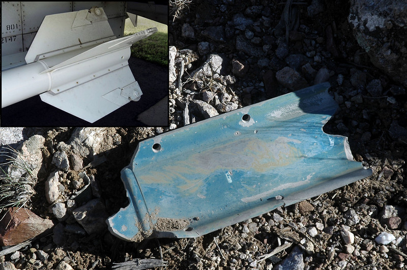 The crash diagram also showed pieces from a missile in the area. Looks like this piece is from a Sidewinder, insert photo shows the piece is from the fin mount.