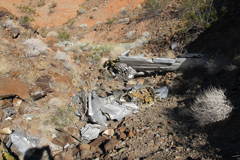 Just above the horizontal stabilizer was this crushed eight foot long section from the fuselage.