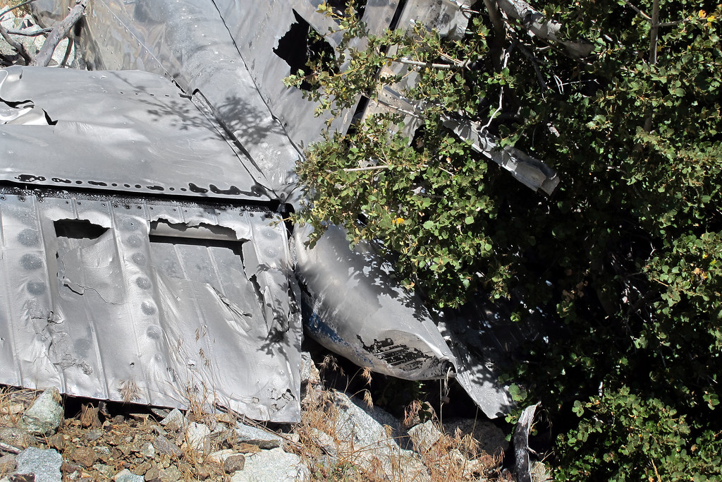 The aerial photo of the wreckage taken years ago, showed stab and elevator painted black, looks like a bush fire in the area burned off almost all the paint and melted some of the aluminum.