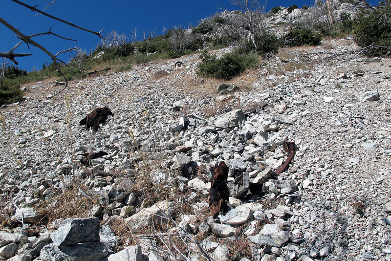 A little farther up was this group of pieces. At the time, I thought that it was the area where the Cessna impacted the slope, but later I found more pieces higher up. As steep and loose as this slope is, I think that none of the pieces are in their original location.