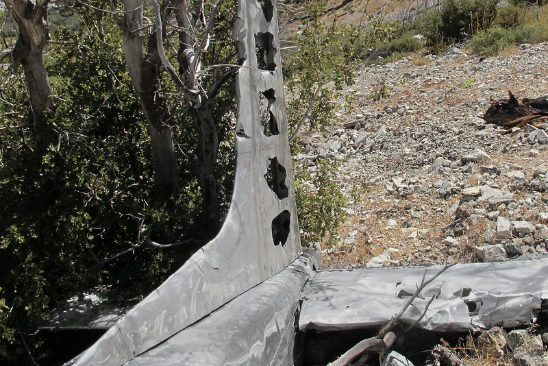 This view of the fin, also shows a little of the right stab which was buried in the bush, which is probably what kept the tail from sliding down the slope.