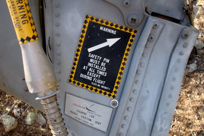 Labels on seat. It's a Douglas ESCAPAC 1-C2.