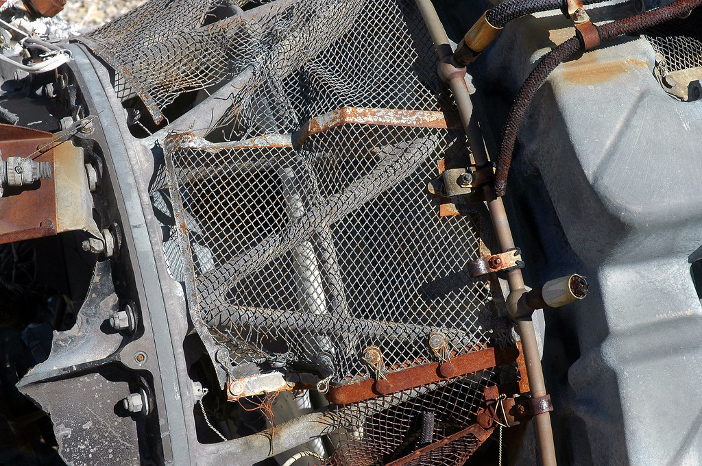Close up of the engine's intake FOD screen.