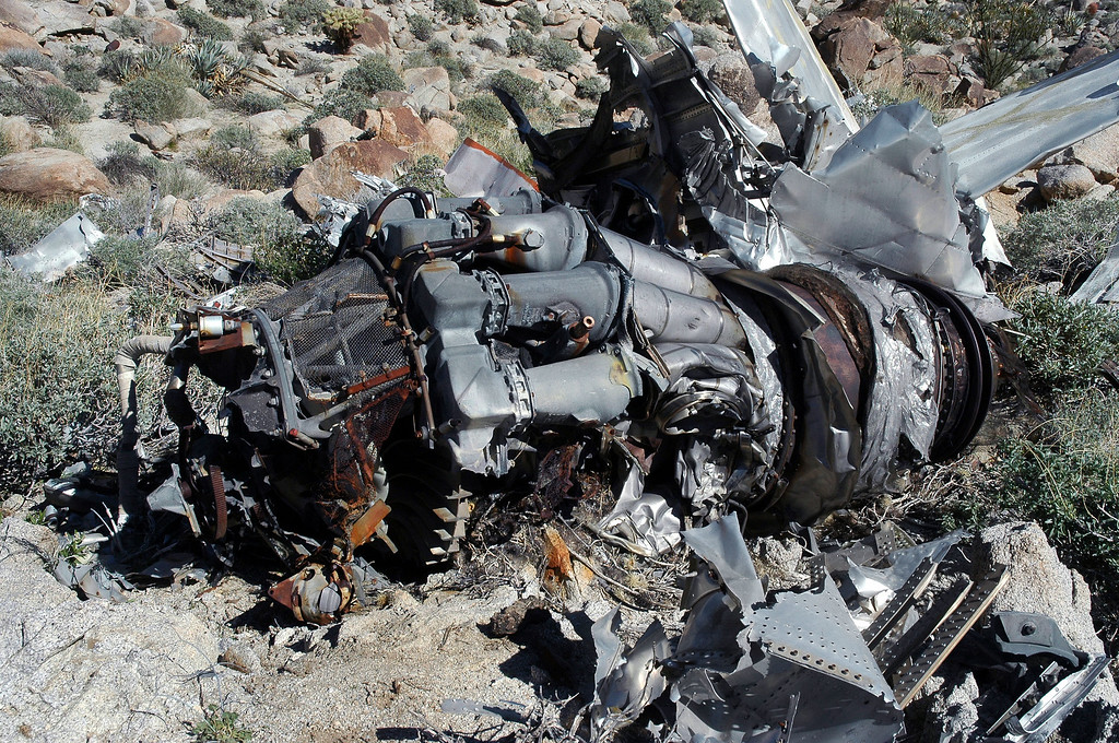Most of the damage on the engine was on the bottom side. Looks like this plane crashed in a flat spin or at a really shallow angle.